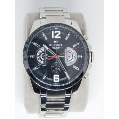 Reloj para hombre marca Tommy Negro Plateado con doble calendario